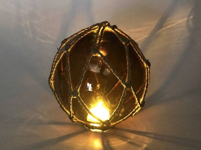 Tabletop LED Lighted Amber Japanese Glass Ball Fishing Float with Brown Netting Decoration 6