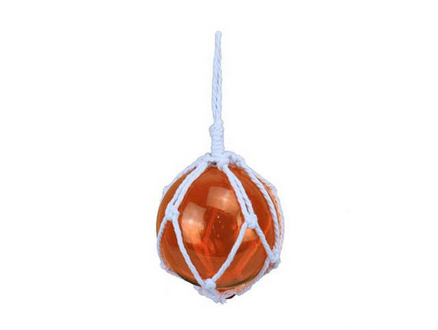 Orange Japanese Glass Ball Fishing Float With White Netting Decoration 6