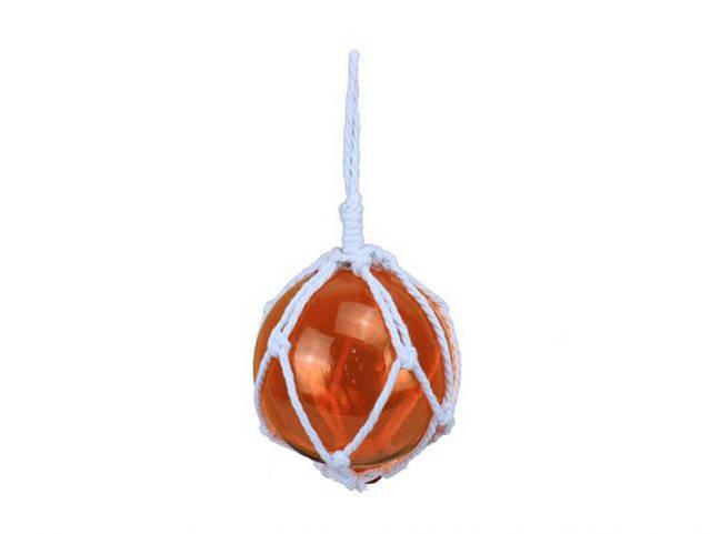 Orange Japanese Glass Ball Fishing Float With White Netting Decoration 6