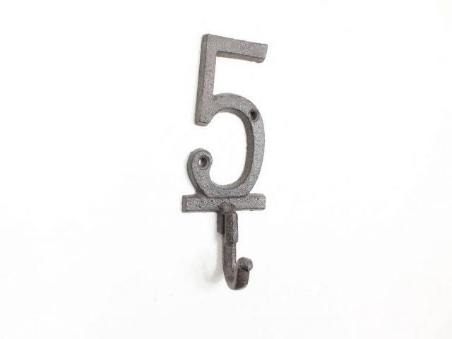Cast Iron Number 5 Wall Hook 6