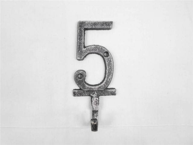 Rustic Silver Cast Iron Number 5 Wall Hook 6