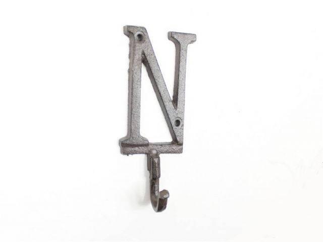 Cast Iron Letter N Alphabet Wall Hook 6