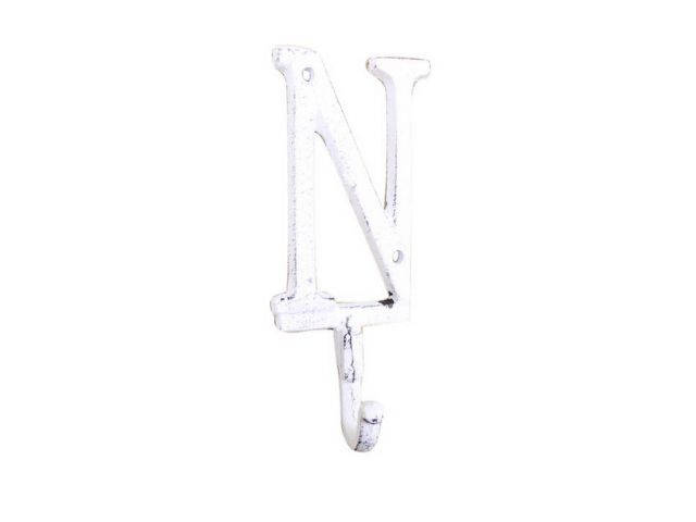 Whitewashed Cast Iron Letter N Alphabet Wall Hook 6