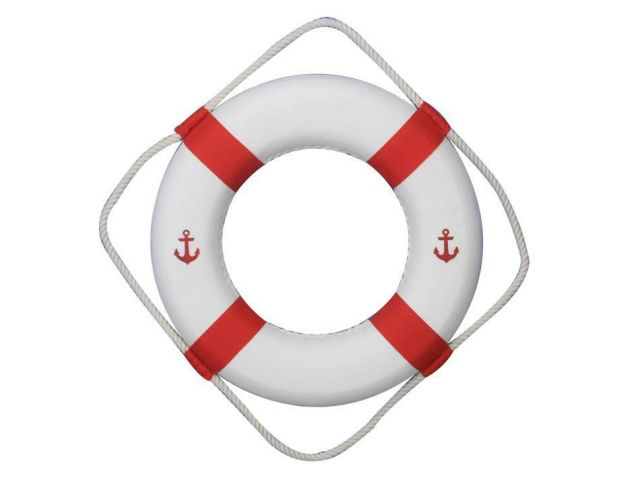 Classic White Decorative Anchor Lifering with Red Bands 15