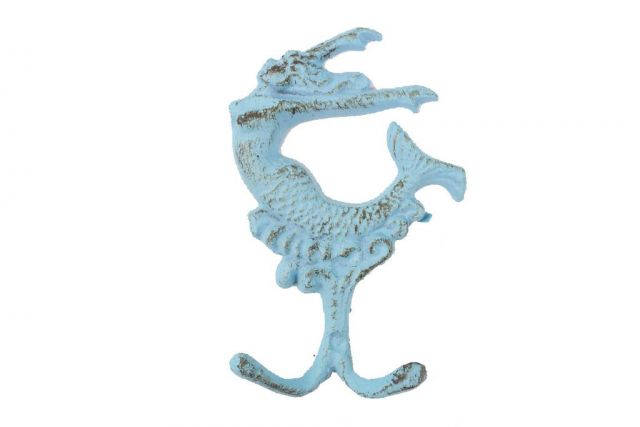 Rustic Light Blue Cast Iron Mermaid Key Hook 6