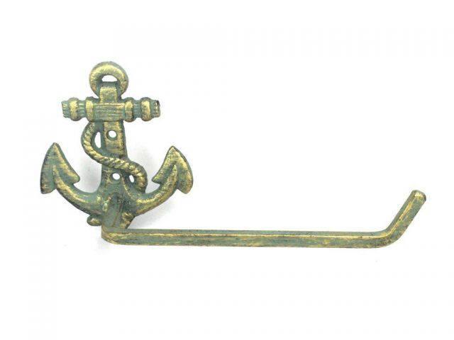 Antique Bronze Cast Iron Anchor Toilet Paper Holder 10