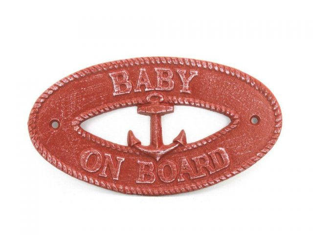 Red Whitewashed Cast Iron Baby on Board with Anchor Sign 8