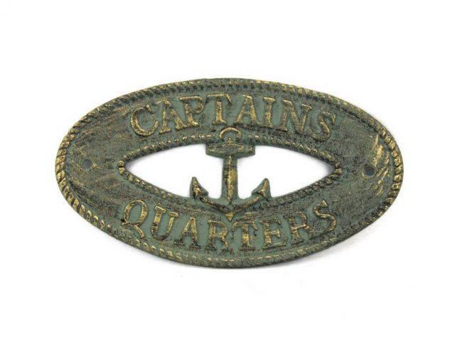 Antique Bronze Cast Iron Captains Quarters with Anchor Sign 8