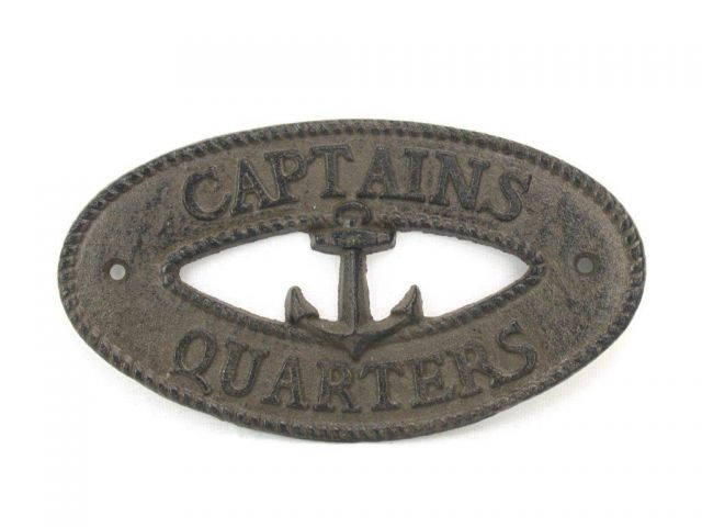 Cast Iron Captains Quarters with Anchor Sign 8