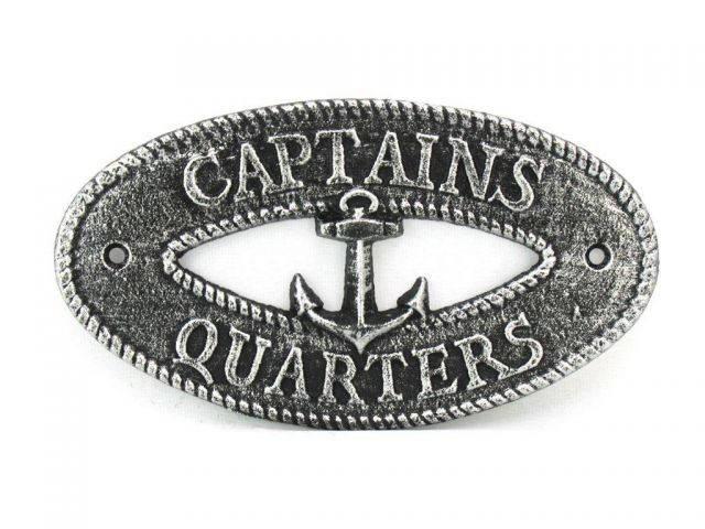 Antique Silver Cast Iron Captains Quarters with Anchor Sign 8