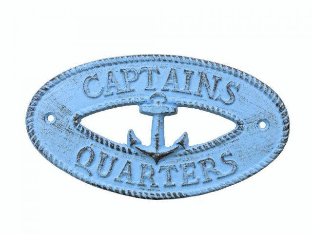 Rustic Light Blue Cast Iron Captains Quarters with Anchor Sign 8
