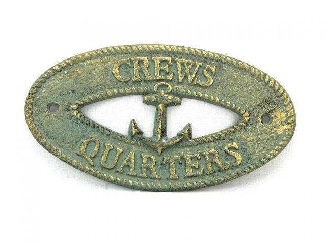 Antique Bronze Cast Iron Crews Quarters with Anchor Sign 8