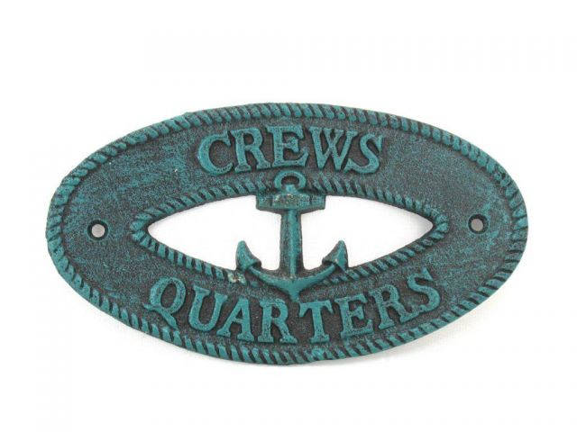 Seaworn Blue Cast Iron Crews Quarters with Anchor Sign 8