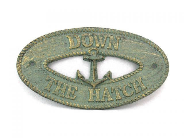 Antique Bronze Cast Iron Down the Hatch with Anchor Sign 8