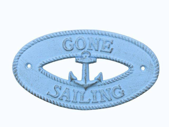 Rustic Light Blue Cast Iron Gone Sailing with Anchor Sign 8