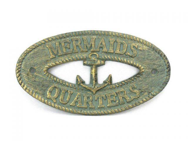 Antique Bronze Cast Iron Mermaids Quarters with Anchor Sign 8
