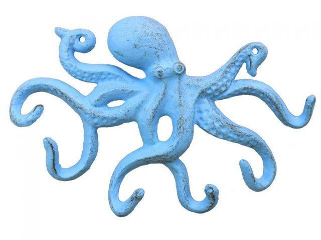 Rustic Light Blue Cast Iron Octopus Hook 11