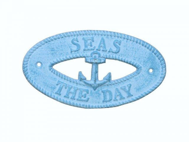 Light Blue Whitewashed Cast Iron Seas the Day with Anchor Sign 8