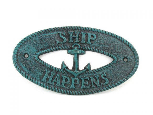 Seaworn Blue Cast Iron Ship Happens with Anchor Sign 8