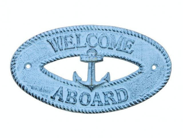 Dark Blue Whitewashed Cast Iron Welcome Aboard with Anchor Sign 8
