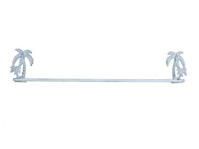 Whitewashed Cast Iron Palm Tree Bath Towel Holder 26