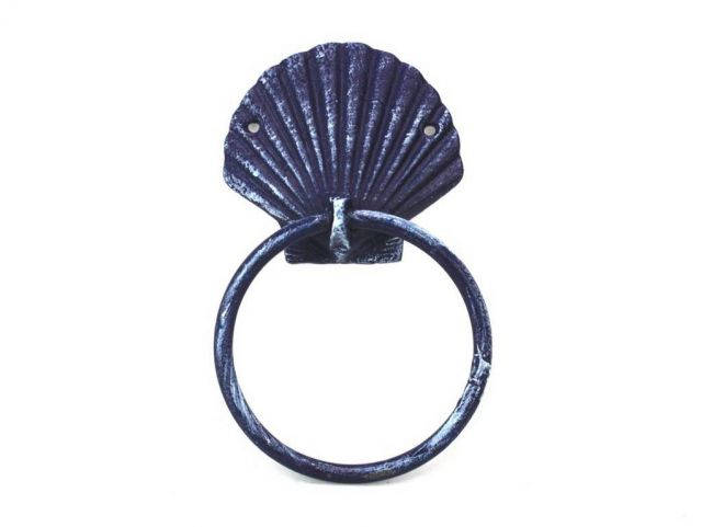 Rustic Dark Blue Cast Iron Seashell Towel Holder 8.5