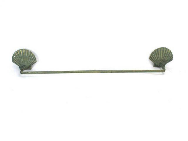 Antique Bronze Cast Iron Shell Bath Towel Holder 28
