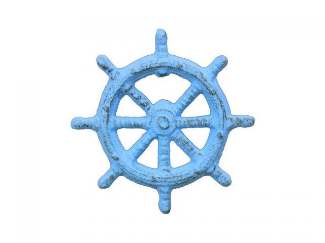 Rustic Light Blue Cast Iron Ship Wheel Bottle Opener 3.75