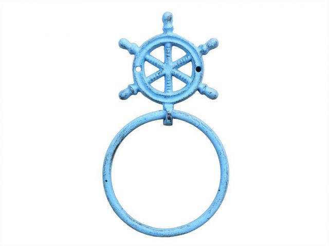 Rustic Light Blue Cast Iron Ship Wheel Towel Holder 8.5