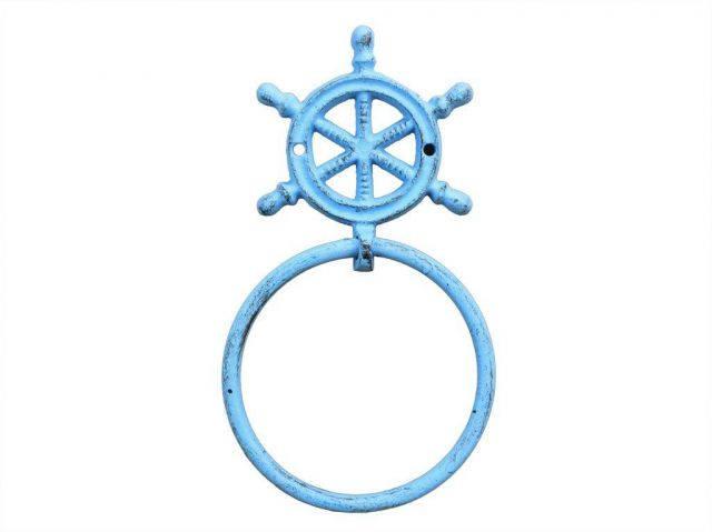 Rustic Light Blue Cast Iron Ship Wheel Towel Holder 8.5