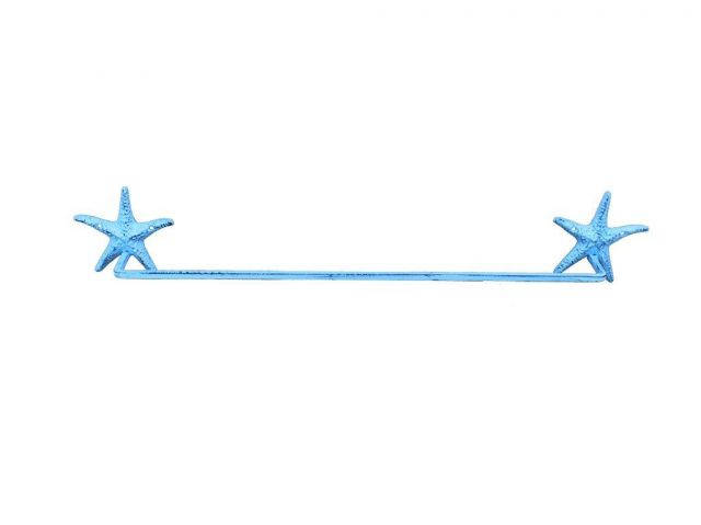 Dark Blue Whitewashed Cast Iron Starfish Bath Towel Holder 28