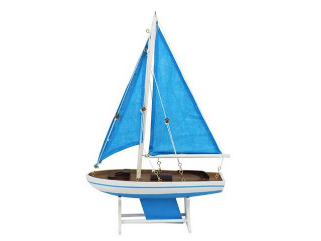 Wooden Decorative Sailboat Model Light Blue with Light Blue Sails 12