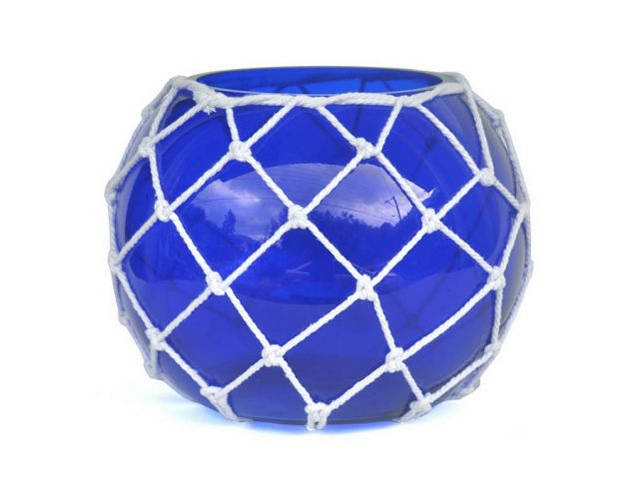 Dark Blue Japanese Glass Fishing Float Bowl with Decorative White Fish Netting 10