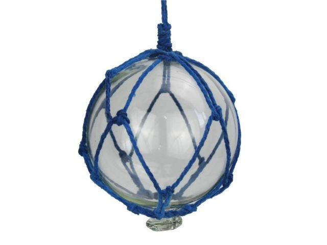 Clear Japanese Glass Ball Fishing Float with Dark Blue Netting Christmas Ornament 4