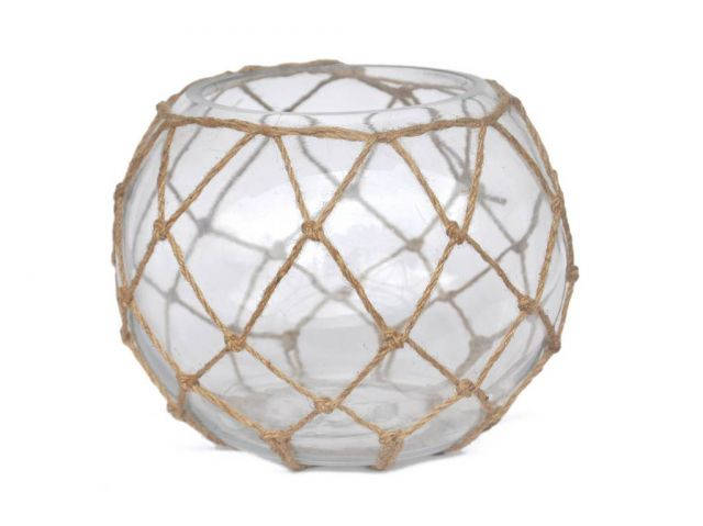 Clear Japanese Glass Fishing Float Bowl with Decorative Brown Fish Netting 10