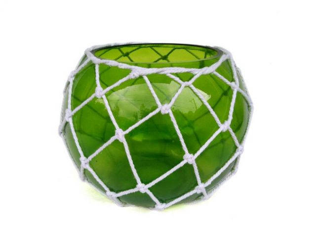 Green Japanese Glass Fishing Float Bowl with Decorative White Fish Netting 10