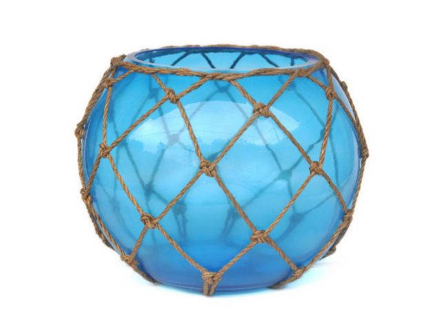 Light Blue Japanese Glass Fishing Float Bowl with Decorative Brown Fish Netting 10