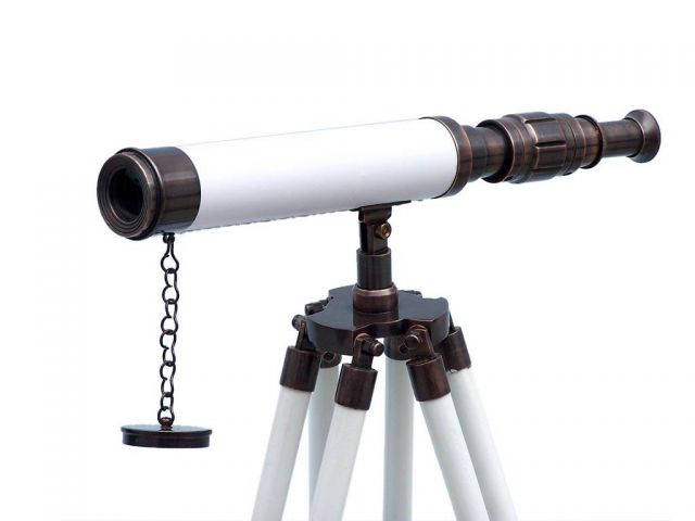 Standing Antique Copper with White Leather Harbor Master Telescope 30