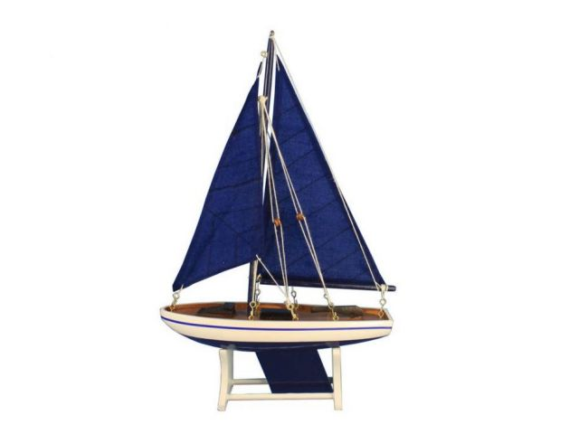 Wooden Decorative Blue Sailboat Model with Blue Sails 12