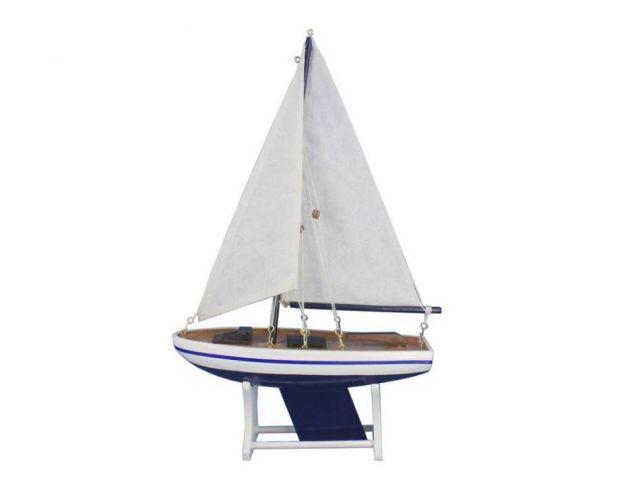 Wooden Decorative Sailboat Model 12 - Blue Sailboat Model