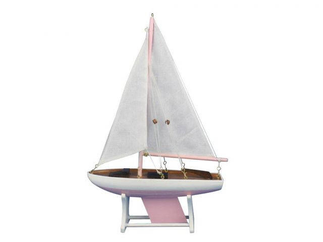 Wooden Decorative Sailboat Model 12 - Pink Model Boat