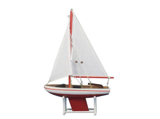 Wooden Decorative Sailboat 12 - Red Sailboat Model