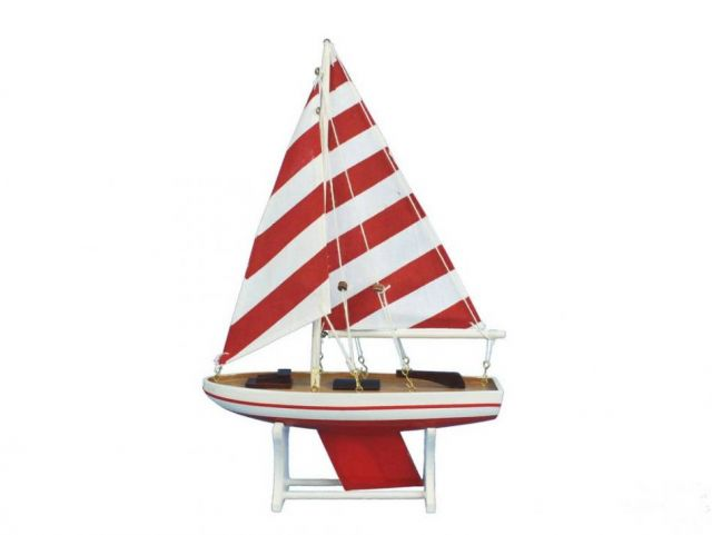 Wooden Decorative Sailboat Model with Rustic Red Stripes 12
