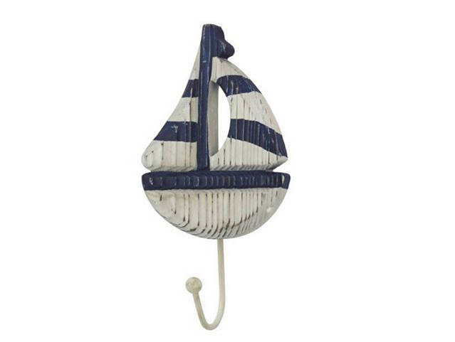 Wooden Rustic Decorative Blue and White Sailboat with Hook 7