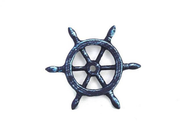 Rustic Dark Blue Cast Iron Ship Wheel Decorative Paperweight 4