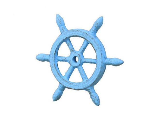 Rustic Light Blue Cast Iron Ship Wheel Decorative Christmas Ornament 4