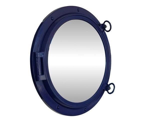 Navy Blue Decorative Ship Porthole Mirror 24