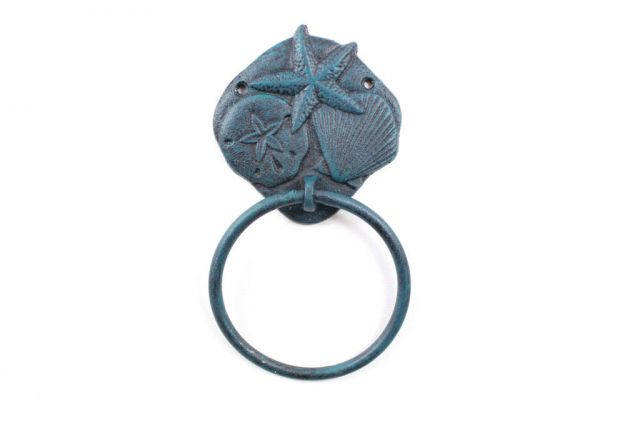 Seaworn Blue Cast Iron Shell Sand Dollar Starfish Towel Holder 8