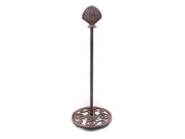 Rustic Copper Cast Iron Seashell Extra Toilet Paper Stand 16