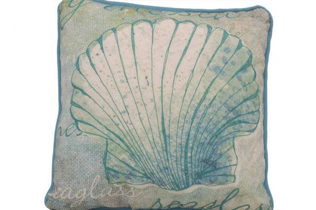 Blue and White Seashell Decorative Throw Pillow 10